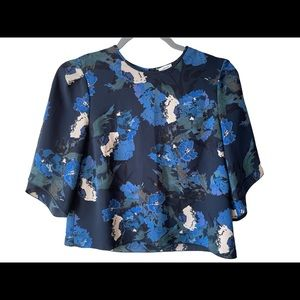 Aritzia Wilfred Woman's Black Floral Cropped Cambrai Blouse Top Shirt Size XS